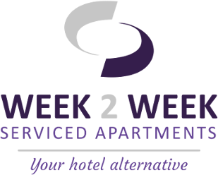Pie de página del logotipo de Week2Week Apartments